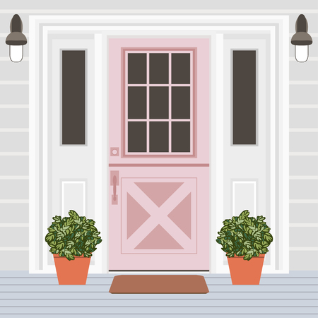 House door front with window, steps, lamps and plants, building entry facade, exterior entrance design illustration vector in flat style