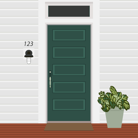 House door front with doorstep and mat, lamp, flowers, building entry facade, exterior entrance design illustration vector in flat style Vecteurs