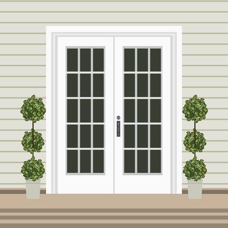 Devant de porte de maison avec seuil et tapis, marches, fenêtre, lampe, fleurs, façade d'entrée de bâtiment, vecteur d'illustration de conception d'entrée extérieure dans un style plat