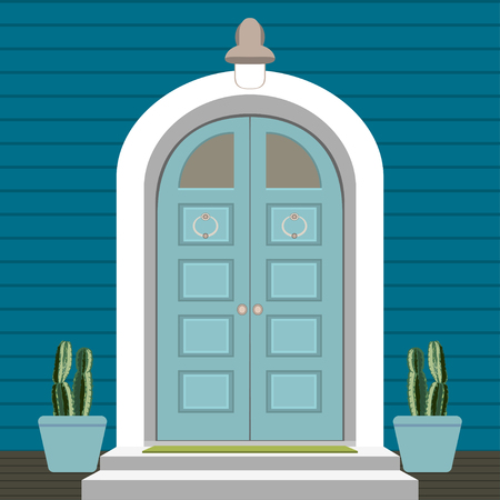 House door front with doorstep and mat, steps, window, lamp, flowers, building entry facade, exterior entrance design illustration vector in flat style