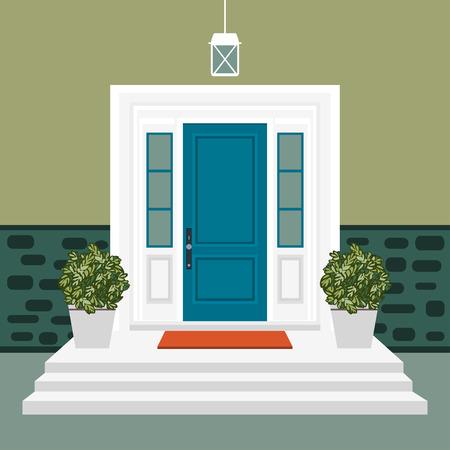 Devant de porte de maison avec seuil et tapis, marches, fenêtre, lampe, fleurs, façade d'entrée de bâtiment, vecteur d'illustration de conception d'entrée extérieure dans un style plat Vecteurs