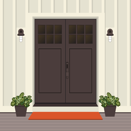 House door front with doorstep and mat, window, lamp, flowers, building entry facade, exterior entrance design illustration vector in flat style