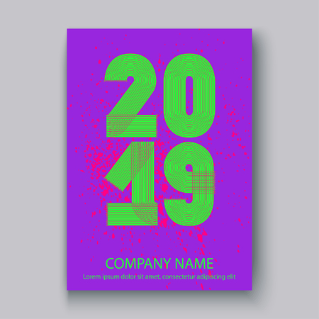 Cover Annual Report numbers 2019, modern design colorful neon splash background vertical, year 2019 in thin lines striped, written with a pen, vector illustration