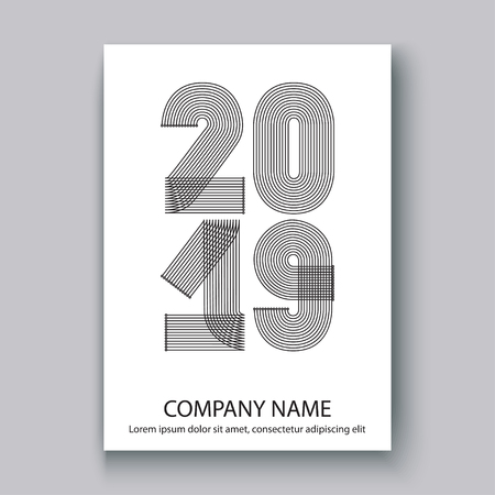 Cover Annual Report numbers 2019, modern design black on white background vertical, year 2019 in thin lines striped minimalist, written with a pen, vector illustration