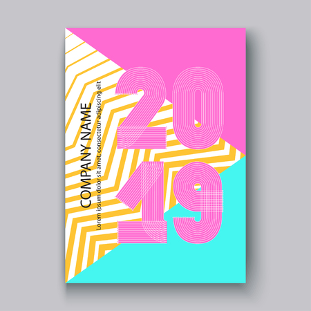 Cover Annual Report numbers 2019, modern design colorful neon zigzag background vertical, year 2019 in thin lines striped memphis stile, written with a pen, vector illustration Banque d'images - 126826713