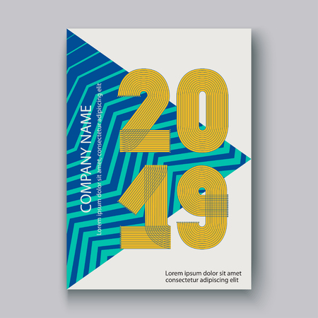 Cover Annual Report numbers 2019, modern design colorful neon zigzag background vertical, year 2019 in thin lines striped memphis stile, written with a pen, vector illustration Banque d'images - 126826714