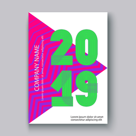 Cover Annual Report numbers 2019, modern design colorful neon zigzag background vertical, year 2019 in thin lines striped memphis stile, written with a pen, vector illustration Banque d'images - 126826715