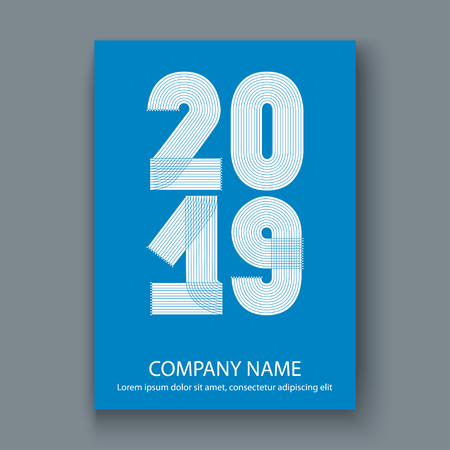 Cover Annual Report numbers 2019, modern design white on blue background vertical, year 2019 in thin lines striped minimalist, written with a pen, vector illustration 일러스트