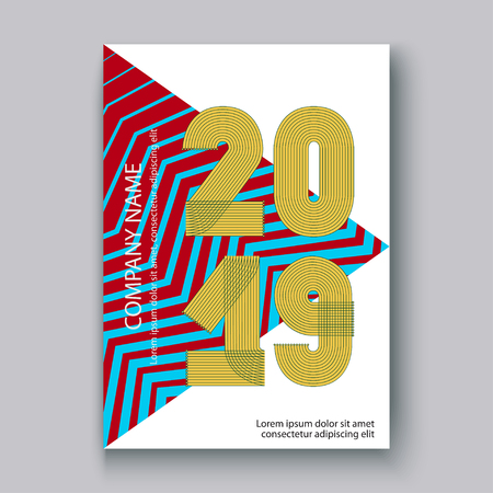 Cover Annual Report numbers 2019, modern design colorful neon zigzag background vertical, year 2019 in thin lines striped memphis stile, written with a pen, vector illustration