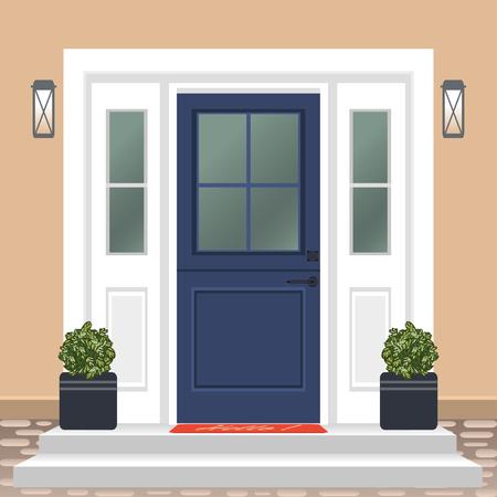 Devant de porte de maison avec seuil et tapis, marches, fenêtre, lampe, fleurs en pot, façade d'entrée de bâtiment, vecteur d'illustration de conception d'entrée extérieure dans un style plat Vecteurs