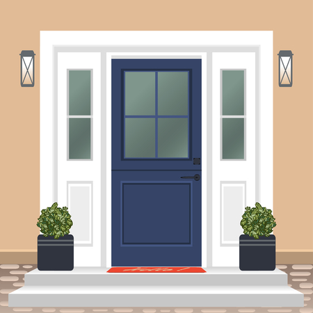 House door front with doorstep and mat, steps, window, lamp, flowers in pot, building entry facade, exterior entrance design illustration vector in flat style Banque d'images - 126435357