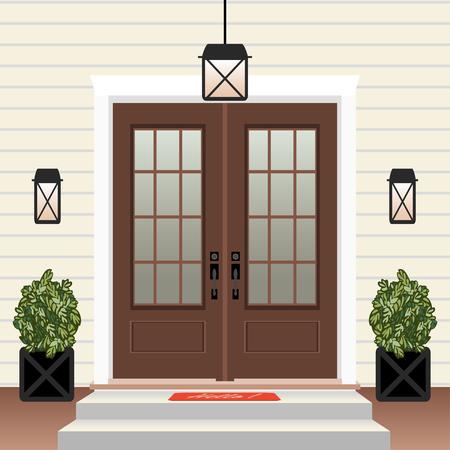 Devant de porte de maison avec seuil et tapis, marches, fenêtre, lampe, fleurs en pot, façade d'entrée de bâtiment, vecteur d'illustration de conception d'entrée extérieure dans un style plat