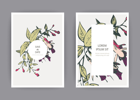 Botanical wedding invitation card template design, hand drawn fuchsia pink flowers and leaves with circle frame with leaves, pastel vintage rural theme  with square frame on white background, minimali