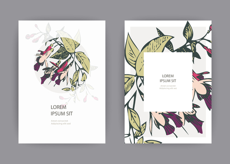 Botanical wedding invitation card template design, hand drawn fuchsia pink flowers and leaves with circle, pastel vintage rural theme with square frame on white background, minimalist vintage style