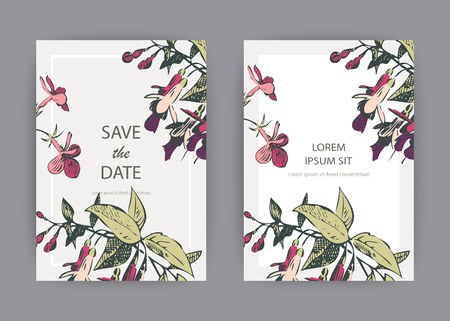 Botanical wedding invitation card template design, hand drawn fuchsia pink flowers and leaves, pastel vintage rural theme  with square frame on white background, minimalist vintage style, vector illus 일러스트