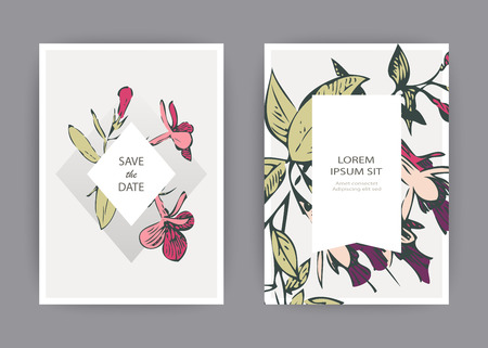 Botanical wedding invitation card template design, hand drawn fuchsia pink flowers and leaves, pastel vintage rural theme square frame white background, minimalist vintage style, vector illustration 일러스트