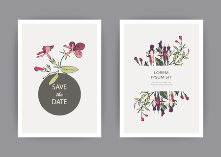 Botanical wedding invitation card template design, hand drawn fuchsia pink flowers and leaves with circle frame, pastel vintage rural theme on white background, minimalist vintage style, vector illust