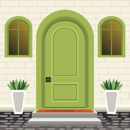 House door front with doorstep and steps, mat, flowers in pots, building entry facade, exterior entrance with brick wall design illustration vector in flat style Banque d'images - 126263972