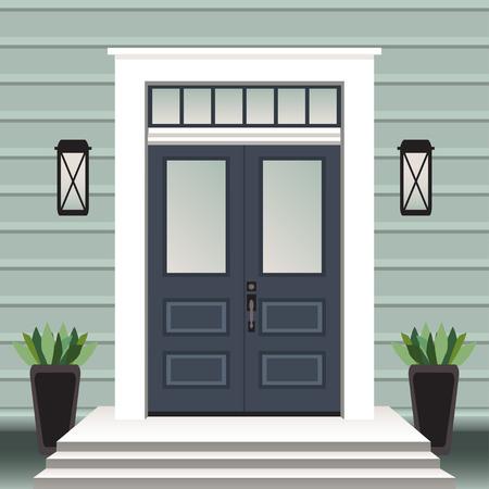 Devant de porte de maison avec seuil et marches, fenêtre, lampe, fleurs en pot, façade d'entrée de bâtiment, vecteur d'illustration de conception d'entrée extérieure dans un style plat Vecteurs