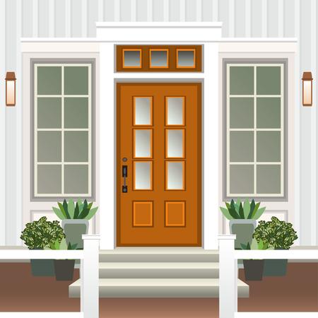 Avant de porte de maison avec porche de porte et marches, fenêtre, lampe, fleurs en pot, façade d'entrée de bâtiment, entrée extérieure design illustration vectorielle style plat Vecteurs