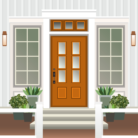 House door front with doorstep and steps porch, window, lamp, flowers in pot, building entry facade, exterior entrance design illustration vector flat style Illustration