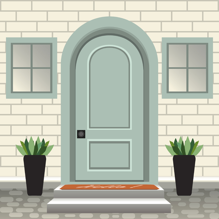 House door front with doorstep and steps, lamp, flowers in pots, building entry facade, exterior entrance with brick wall design illustration vector in flat style 일러스트