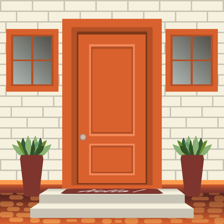 Devant de porte de maison avec seuil et marches, lampe, fleurs en pots, façade d'entrée de bâtiment, entrée extérieure avec vecteur d'illustration de conception de mur de briques dans un style plat