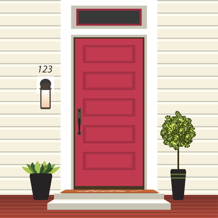 House door front with doorstep and mat, steps, window, lamp, flowers in pot, building entry facade, exterior entrance design illustration vector in flat style