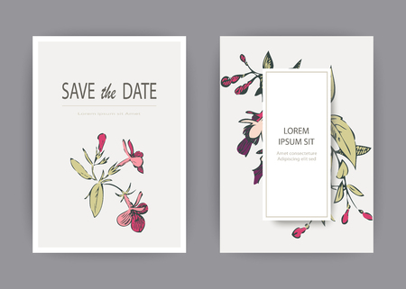 Botanical wedding invitation card template design, hand drawn fuchsia pink flowers and leaves, pastel vintage rural theme with square frame on white background, minimalist vintage style Banque d'images - 126236707