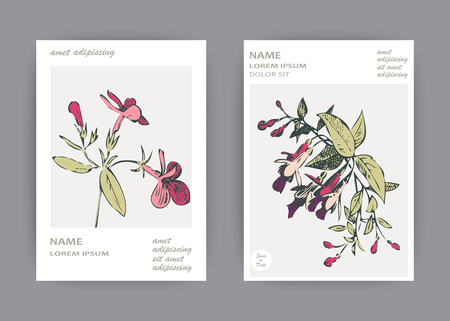 Botanical wedding invitation card template design, hand drawn fuchsia pink flowers and leaves, pastel vintage rural theme with square frame on white background, minimalist vintage style