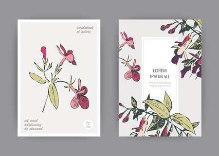 Botanical wedding invitation card template design, hand drawn fuchsia pink flowers and leaves, pastel vintage rural theme with square frame on white background, minimalist vintage style Banque d'images - 126236711