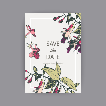 Botanical wedding invitation card template design, hand drawn fuchsia pink flowers and leaves, pastel vintage rural theme with square frame on white background, minimalist vintage style Banque d'images - 126236713