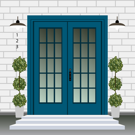 House door front with doorstep and steps, lamp, flowers in pots, building entry facade, exterior entrance with brick wall design illustration vector in flat style Banque d'images - 126024232