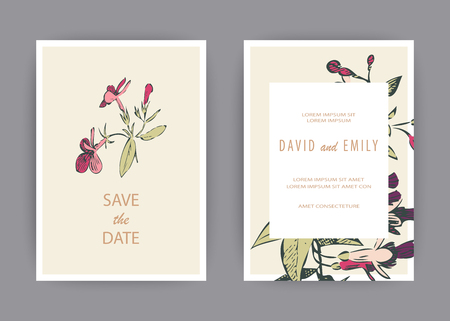 Botanical wedding invitation card template design, hand drawn fuchsia pink flowers and leaves, pastel vintage rural theme with square frame on white background, minimalist vintage style Banque d'images - 125986548