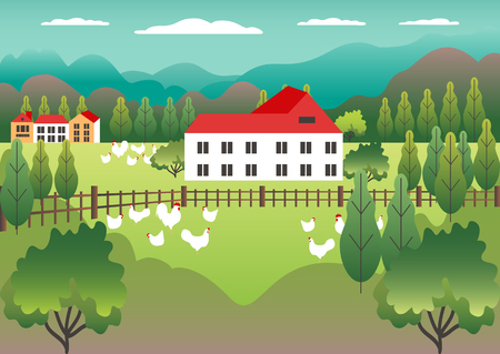 Rural valley view Farm countryside. Village landscape with ranch in flat style design. Landscape with detached house farm one family house, barn, building, tree, background cartoon vector illustration Banque d'images - 125844421