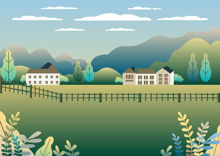 Rural valley view Farm countryside. Village landscape with ranch in flat style design. Landscape with detached house farm one family house, barn, building, tree, background cartoon vector illustration Banque d'images - 125844423