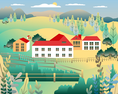 Rural valley view Farm countryside. Village landscape with ranch in flat style design. Landscape with detached house farm one family house, barn, building, tree, background cartoon vector illustration Banque d'images - 125844424