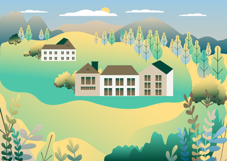 Rural valley view Farm countryside. Village landscape with ranch in flat style design. Landscape with detached house farm one family house, barn, building, tree, background cartoon vector illustration Banque d'images - 125844425
