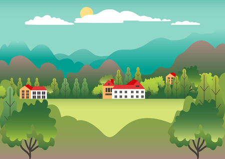 Rural valley view Farm countryside. Village landscape with ranch in flat style design. Landscape with detached house farm one family house, barn, building, tree, background cartoon vector illustration Banque d'images - 125844426