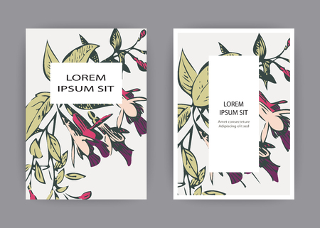 Botanical wedding invitation card template design, hand drawn fuchsia flowers and leaves, pastel color vintage rural with square frame on white background, minimalist vintage style vector illustration Banque d'images - 125824498