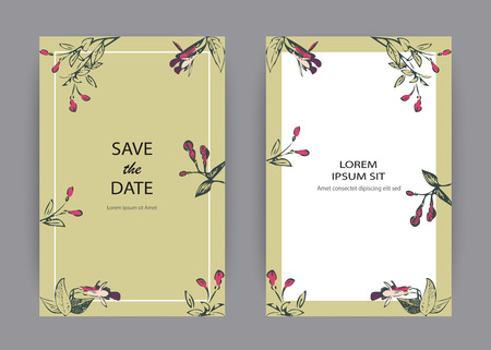 Botanical wedding invitation card template design, hand drawn fuchsia flowers and leaves, pastel color vintage rural with square frame on green background, minimalist vintage style vector illustration Banque d'images - 125824500