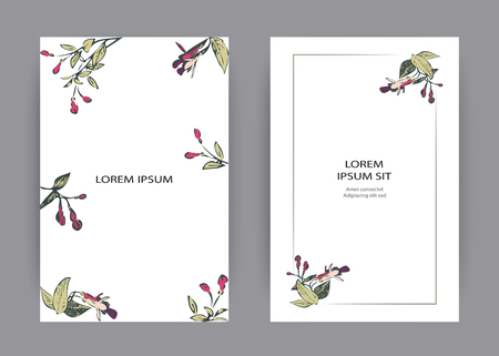 Botanical wedding invitation card template design, hand drawn fuchsia flowers and leaves, pastel color vintage rural with square frame on white background, minimalist vintage style vector illustration Banque d'images - 125824501
