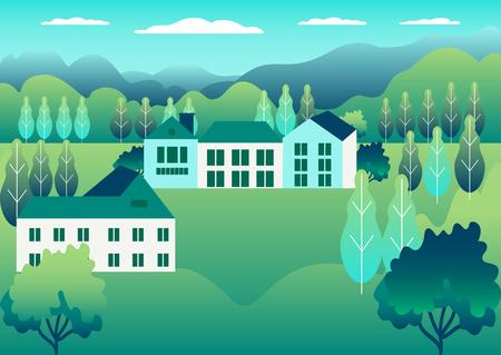 Campo rural de la granja del valle. Paisaje de pueblo con rancho en diseño de estilo plano. Paisaje con casa unifamiliar granja una familia, granero, edificio, colinas, árbol, ilustración vectorial de dibujos animados de fondo