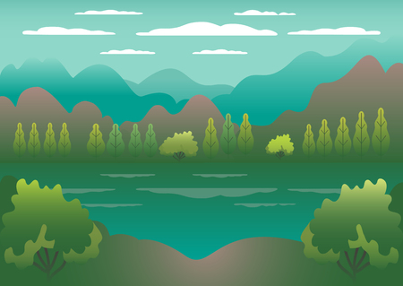Hills landscape in flat style design. Valley with lake background. Beautiful green fields, meadow, mountains and blue sky. Rural location in the hill, forest, trees, cartoon vector Banque d'images - 125610162