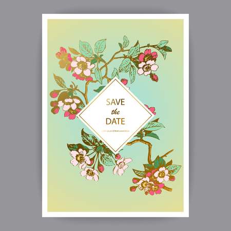 Botanical wedding invitation card template design, hand drawn sakura flowers and leaves, pastel color vintage rural with rhombus frame on green gold background, retro style vector illustration Banque d'images - 125564074