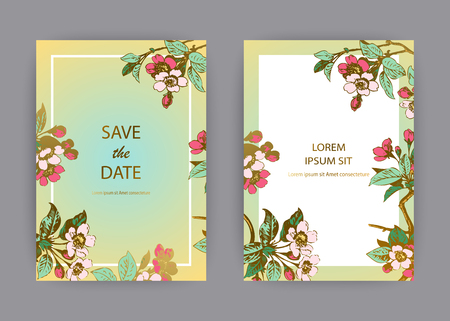 Botanical wedding invitation card template design, hand drawn sakura flowers and leaves on branche, pastel colors vintage rural green gold white background, retro style vector illustration Banque d'images - 125564078