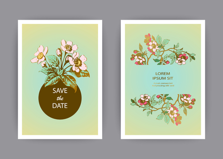 Botanical wedding invitation card template design, hand drawn sakura flowers and leaves on branches, pastel color vintage rural with circle gold frame green background, retro style vector illustration Banque d'images - 125564079