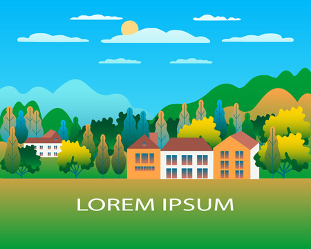 Rural valley Farm countryside. Village landscape with ranch in flat style design. Landscape with house farm one family, barn, building, hills, mountains, tree, background cartoon vector illustration Banque d'images - 125329429