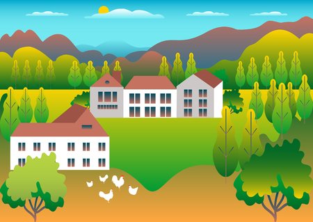Rural valley Farm countryside. Village landscape with ranch in flat style design. Landscape with house farm one family, barn, building, hills, mountains, tree, background cartoon vector illustration Banque d'images - 125329430