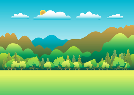 Hills and mountains landscape in flat style design. Valley background. Beautiful green fields, meadow, and blue sky. Rural location in the hill, forest, trees, cartoon vector Banque d'images - 125329431